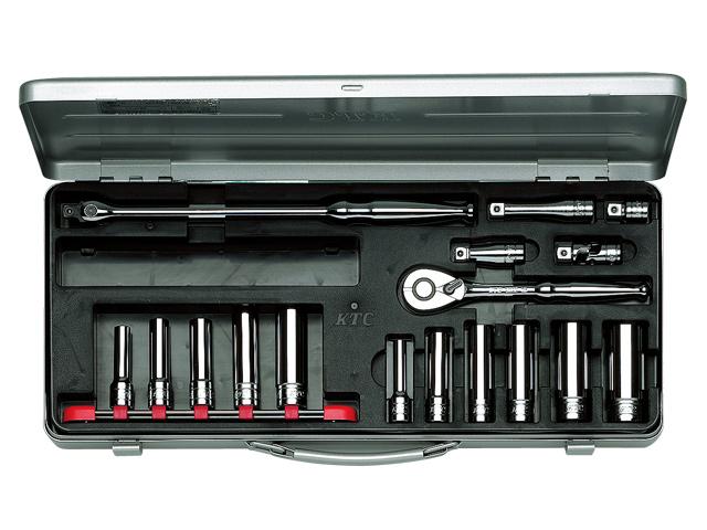 KTC(京都機械工具) 汎用ツール 9.5sq. ディープソケットレンチセット 17点 <TB3L11X> 【21 ktc インチ 12.7 寸法 サイズ jis 差し込み角 比較 使い方 工具 通販 おすすめ 人気 アダプター 3517】