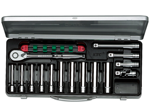 KTC(京都機械工具) 汎用ツール 12.7sq. ディープソケットレンチセット 15点 <TB4L10X> 【21 ktc インチ 12.7 寸法 サイズ jis 差し込み角 比較 使い方 工具 通販 おすすめ 人気 アダプター 3517】