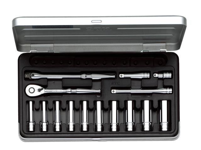 KTC(京都機械工具) 汎用ツール 6.3sq. ディープソケットレンチセット 15点 <TB2L10> 【21 ktc インチ 12.7 寸法 サイズ jis 差し込み角 比較 使い方 工具 通販 おすすめ 人気 アダプター 3517】