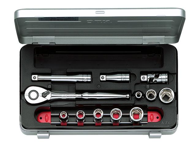 KTC(京都機械工具) 汎用ツール 9.5sq. ソケットレンチセット 12点 <TB308> 【21 ktc インチ 12.7 寸法 サイズ jis 差し込み角 比較 使い方 工具 通販 おすすめ 人気 アダプター 3517】