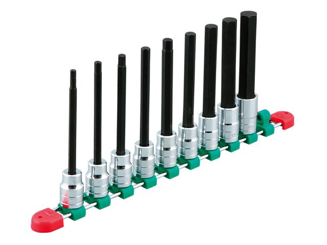 KTC(京都機械工具) 汎用ツール 12.7sq. ロングヘキサゴン ビットソケットセット 9個組 <TBT4L09H>