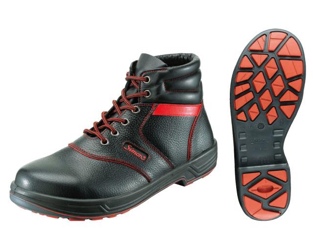 シモン(Simon) ライトシリーズ 安全靴 中編上 SL22-R 黒/赤 <23.5cm~28.0cm> 【安全靴 蒸れない レディース 16200円以上は 送料無料 安い靴 寅壱 セーフティースニーカー安全靴 おすすめ 25.5 滑らない おしゃれ ランキング】