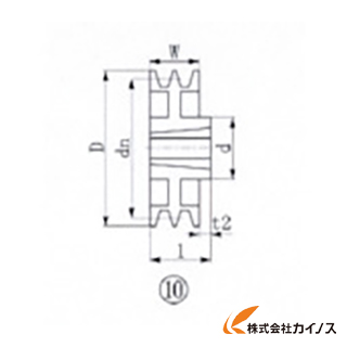 EVN ブッシングプーリー SPA 300mm 溝数2 SPA300-2