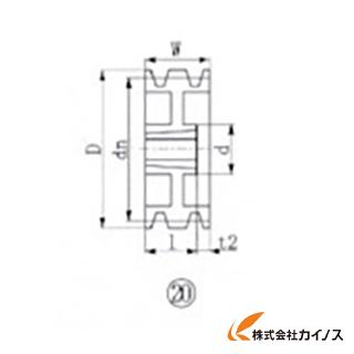 EVN ブッシングプーリー SPB 250mm 溝数3 SPB250-3