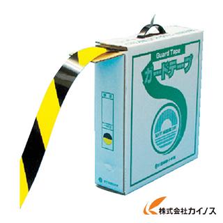 緑十字 ラインテープ(ガードテープ) 黄/黒 再剥離タイプ 50mm幅×100m 149036