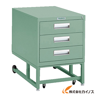 TRUSCO BCD型作業台用ワゴン 引出3段 H620 グリーン BCD-1D3