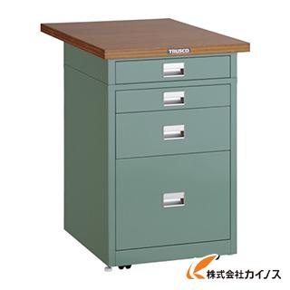 TRUSCO 作業台用サイドキャビネット 木目天板付 500X750 グリーン UDCT-111-0175