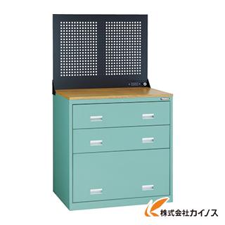 TRUSCO TWK型キャビネット 900X650 3段 Pパネル付 GN TWK-903SP-GN