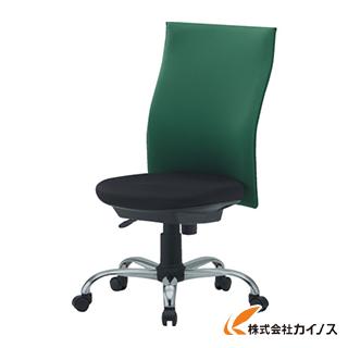 TRUSCO ハイバックオフィスチェアー 肘無 グリーン TOFC330 GN