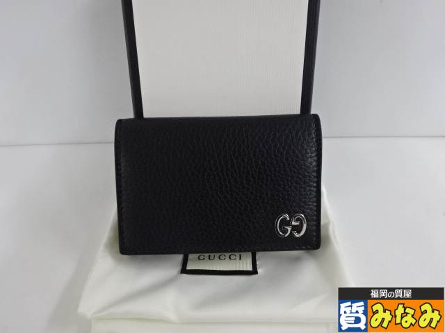 Ts708471 GUCCI(グッチ) カードケース 473923 レザー ブラック 超美品【質みなみ・高砂店】 【中古】