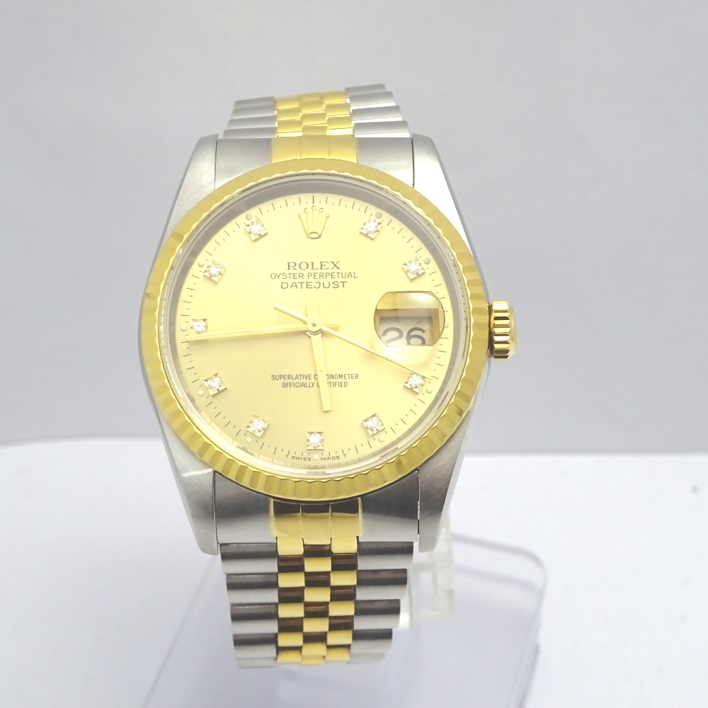 ロレックス 腕時計 10P 旧ダイヤ デイトジャスト 16233G E番 ゴールド×シルバー系【質みなみ・二又瀬店】【質屋】 ROLEX 【中古】 Ft877591