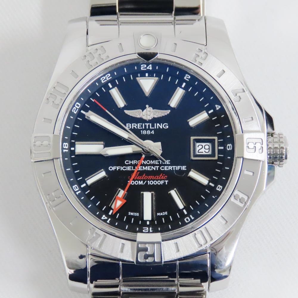 ブライトリング 腕時計 アベンジャー2 GMT A32390 SS 自動巻き ブルー文字盤 メンズ 美品/外装磨き済み【質みなみ・高砂店】【質屋】 BREITLING 【美品】 Ts724811