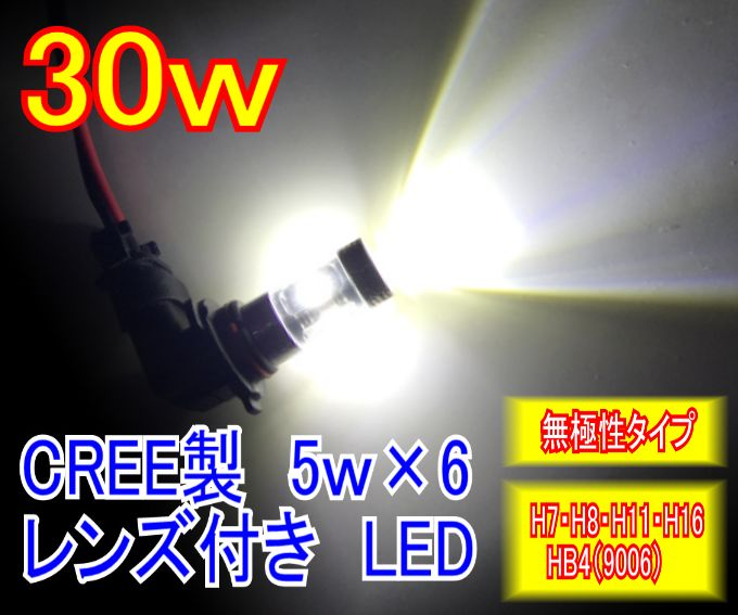送料無料 激安 お買い得 キ゛フト みねや ご予約品 CREE社製LED搭載 30W フォグランプ用LED 12v 24v対応 HB4 H7 H11 H16 送料160円~ H8