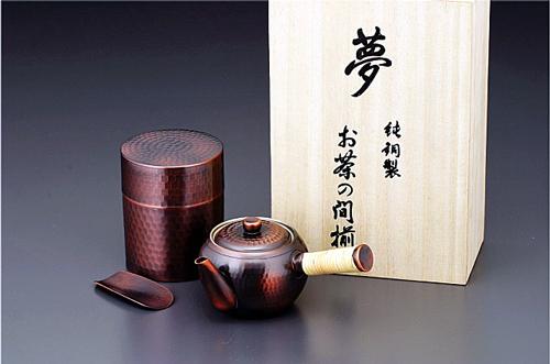 【送料無料】銅急須・茶筒セット
