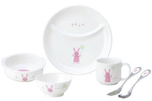 アッコトト子ども食器◆にこにこセット《うさぎ》/誕生祝い 出産祝い 誕生日プレゼント ギフトラッピング対応