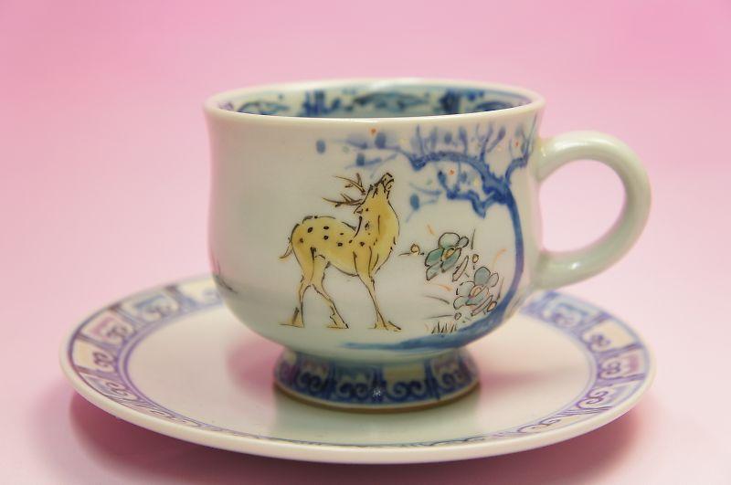 色絵鹿紋 碗皿