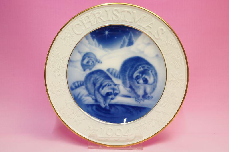 大倉陶園1994年クリスマスプレート「アライグマ」