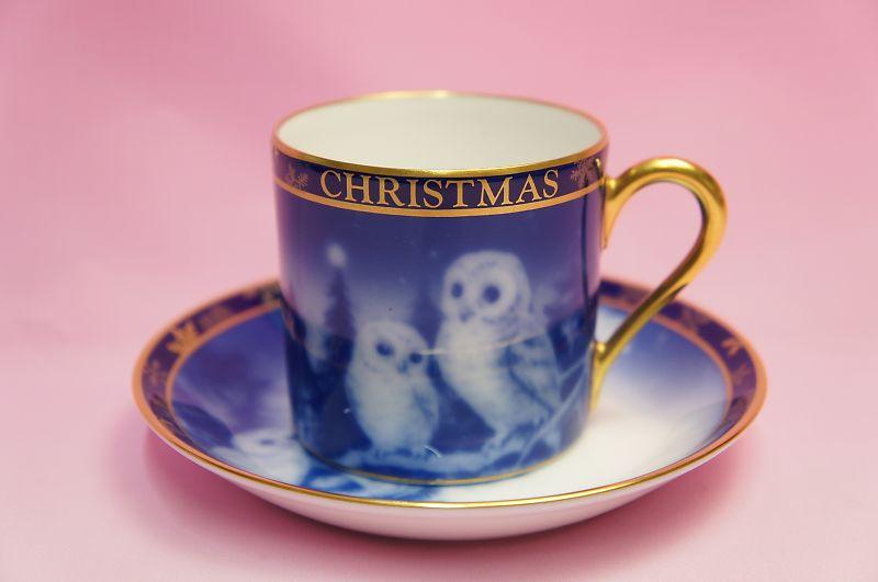 大倉陶園2002年クリスマス碗皿「フクロウ」