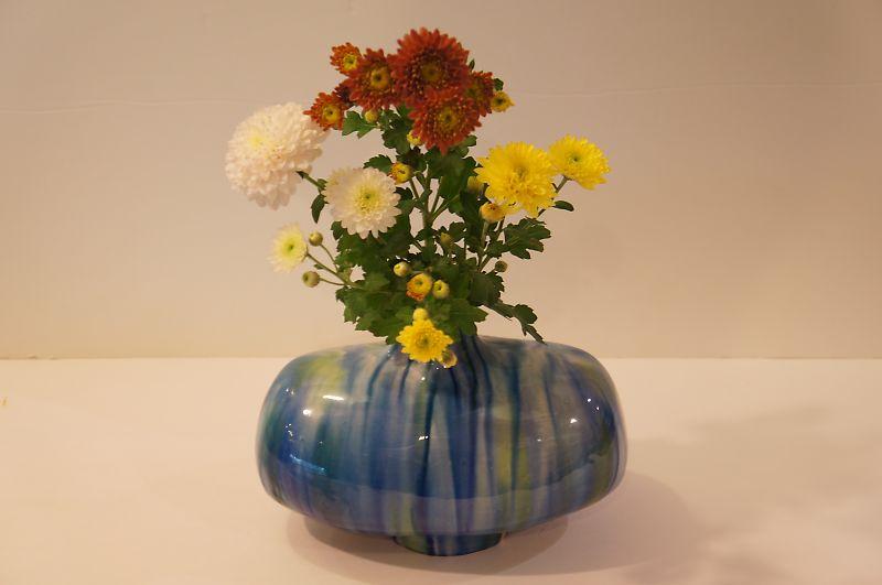 彩釉 花器(青)