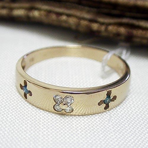 ブルーダイヤモンドがアクセント☆K18ゴールドダイヤモンドリング【smtb-TD】【saitama】