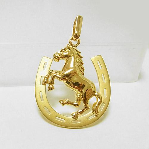 【男女兼用】馬蹄と馬 ホース デザインの18金ペンダントトップ小