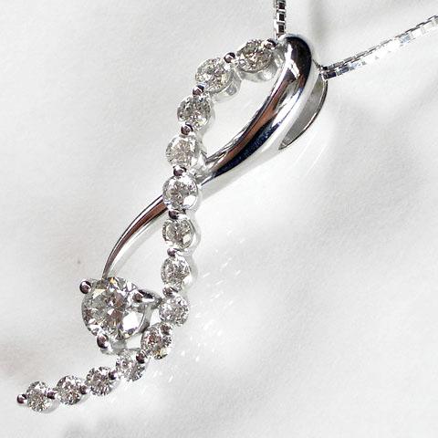 流れるライン 0.5ctダイヤモンド K18ペンダントネックレス 【楽ギフ_包装】【smtb-TD】【saitama】