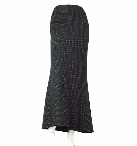 【中古】ノーベスパジオ NOVESPAZIO 黒 ブラック ピンストライプ 上品ロングスカート 小さいサイズ 38号/7号/9号 春夏 レディース ボトムス