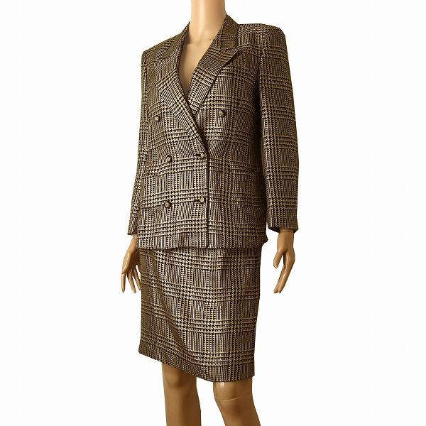 【中古】バーバリー Burberrys 高級スカートスーツ 小さいサイズ表記7号(S~M相当) 黒/ベージュ シルク混 千鳥格子 秋冬向け レディース
