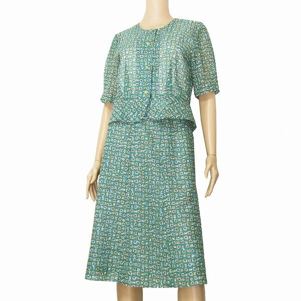 【中古】ちぐさボーベル CHIGUSA Bowbell 素敵スカートスーツ セットアップ大きいサイズ 表記13号(LL相当) 緑/グリーン モダン幾何学柄 パーティー 春夏, シガーダイレクト:bca63b4d --- lovetime.jp