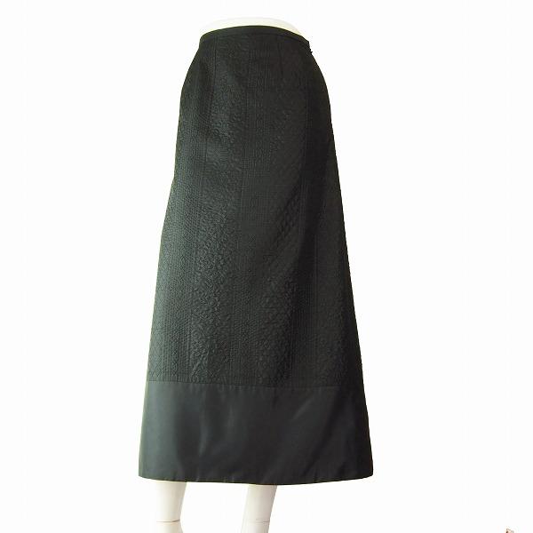 【中古】レリアン Leilian 上品な美形フレアスカート 表記9号(M相当) 黒/ブラック 艶感 繊細な美柄デザイン 春夏向け ボトムス