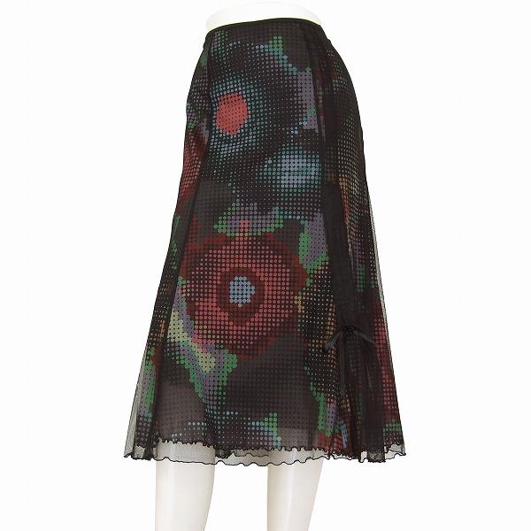 【中古】ハーディエイミス HARDY AMIES フレアスカート 小さいサイズ 表記36号(7号相当) ドットモダン柄 お出掛け 春夏向け ボトムス