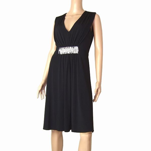 【中古】新品同様/カルバンクライン Calvin Klein 大人ワンピース ドレス 表記10号(9号/Mサイズ相当) 黒/ブラック パーティ 春夏向け レディース
