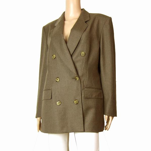 【中古】イエーガー JAEGER 高級ウールジャケット 大きいサイズ表記12号(15号/3Lサイズ相当) 茶 英国製 秋冬向け アウター レディース