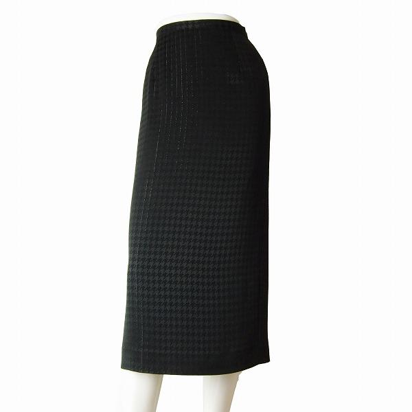 【中古】伊太利屋 大人なタイトスカート 小さいサイズ 表記7号(S相当) 黒/ブラック 千鳥格子柄 ピンストライプ 春夏 ボトムス