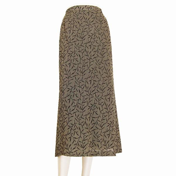 【中古】へっぽこ先生 美揺れフレアスカート 表記Fサイズ(7号~11号相当) ボタニカル柄風デザイン フロッキー加工 春春 ボトムス レディース