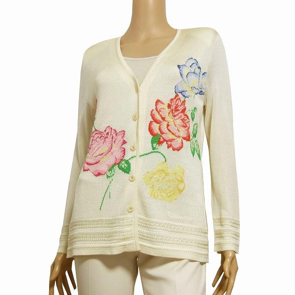 【中古】レオナール LEONARD 高級なふっくらカーディガン 表記L(11号相当) オフ白 絹シルク100% 美花柄デザイン 春夏 トップス