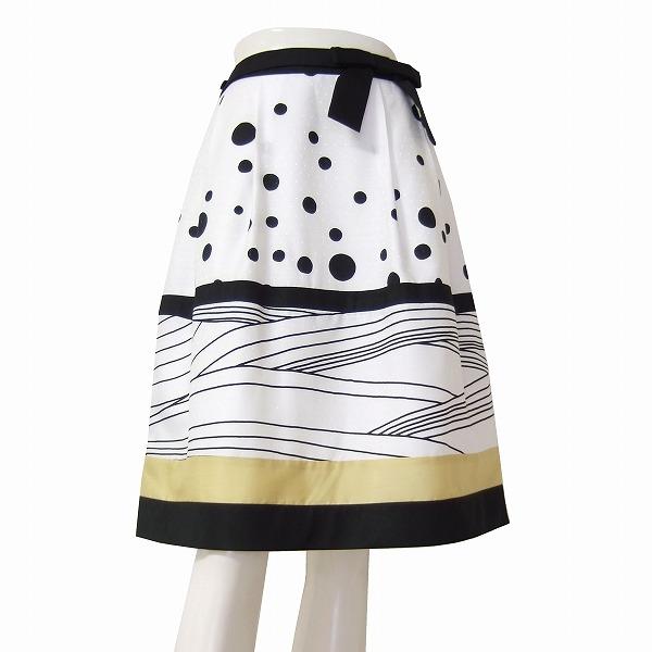 【中古】トゥービーシック TO BE CHIC 可憐なフレアスカート 小さいサイズ 表記40号(7号相当) 白 黒 切り替えデザイン 春夏 ボトムス レディース