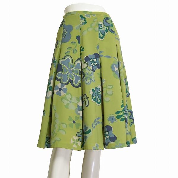 【中古】シビラ sbilla お洒落なボックスプリーツスカート 小さいサイズ 表記M(7号/Sサイズ相当) 緑/グリーン 美彩な花柄 春夏向け ボトムス レディース