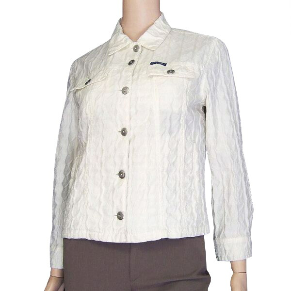size 40 e3085 49cfc ★It is / Lady's in / white / off-white / brand logo place pattern / fashion  cotton jacket /(9 M equivalency) spring and summer made in byblos/ ...