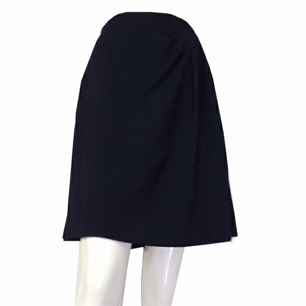 【中古】フォクシー FOXEY 高級ウール系スカート 表記40号(11号/L相当) 紺/ネイビー 上品シンプル 薄手 春夏向け ボトムス レディース