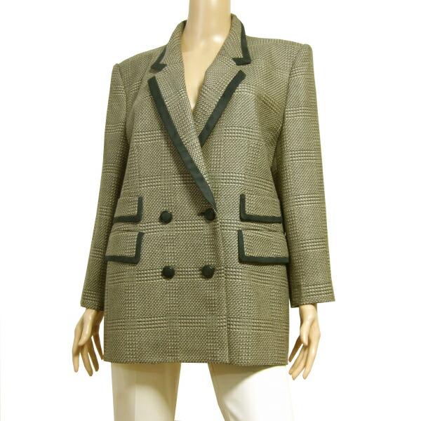 【中古】レリアン Leilian 上品な美形ジャケット 大きいサイズ 表記13号(LLサイズ相当) フランス製生地 繊細な美柄デザイン 秋冬向け アウター レディース