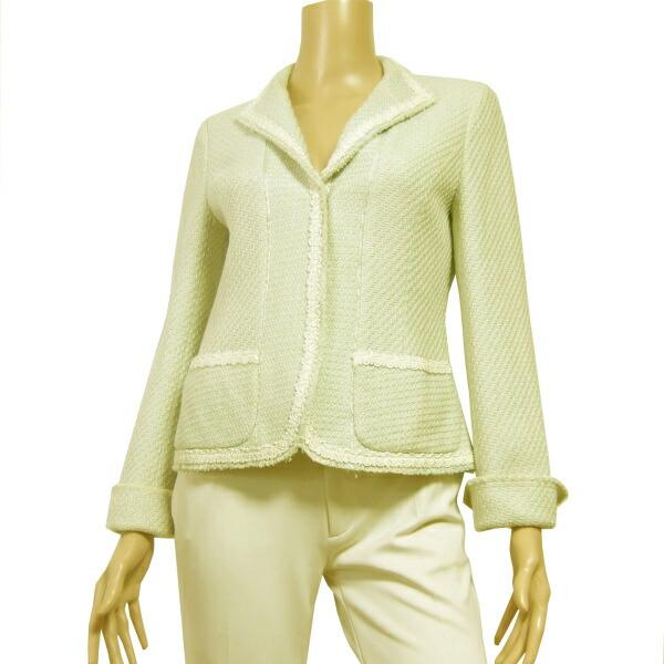 【中古】ポールスチュアート Paul Stuart 上品な美形ツイードジャケット 表記8号(9号/M相当) 美編みデザイン 春秋向け アウター レディース