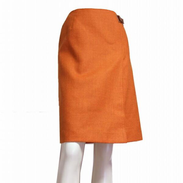 【中古】ポールスチュアート Paul Stuart 美形スカート 小さいサイズ 表記4号(7号/36号/S相当) オレンジ 毛ウール100% 春秋向け ボトムス レディース