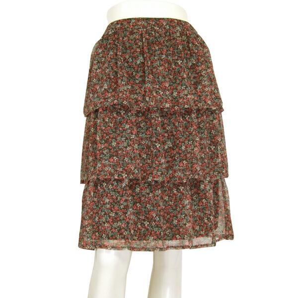【中古】エムズグレイシー M'S GRACY 美揺れフリルスカート 小さいサイズ 表記38号(7号/S相当) シフォン素材 美彩な花柄 春夏向け ボトムス