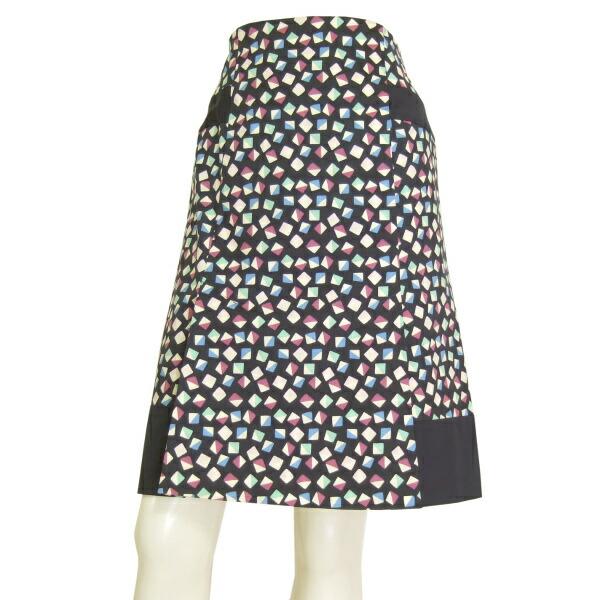 【中古】ローラアシュレイ LAURA ASHLEY 素敵な美形スカート 表記3号(9号/M相当) 美彩なブロック柄 春夏向け ボトムス レディース
