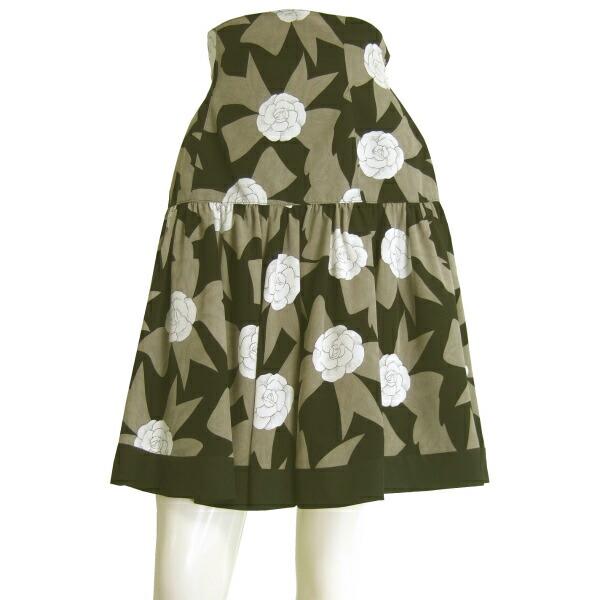 【中古】エムズグレイシー M'S GRACY 素敵なフレアスカート 小さいサイズ 表記9号(7号相当) リボン お花 お出掛け 春夏向け ボトムス