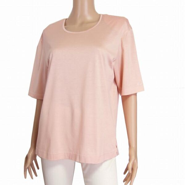 【中古】レリアン Leilian 綿コットン100%カットソー 大きいサイズ13号/LL相当 ピンク 半袖 ブランド名刺繍 春夏向け トップス レディース