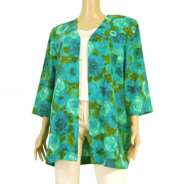 【中古】ちぐさボーベル Bowbell 上品な羽織りジャケット 大きいサイズ 表記17号(4L相当) 緑 青 美花柄 パーティー 春夏向け アウター レディース