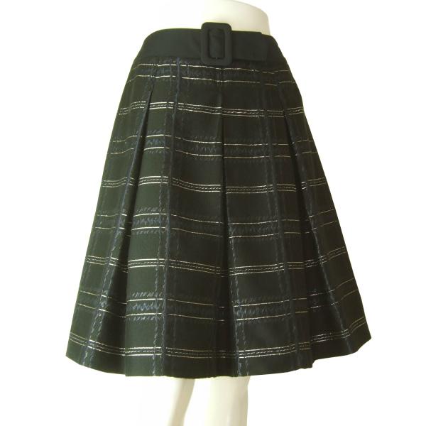 【中古】エムズグレイシー M'S GRACY お洒落なプリーツスカート 小さいサイズ 表記38号(7号相当) 黒/ブラック チェック柄 春夏秋向け ボトムス レディース