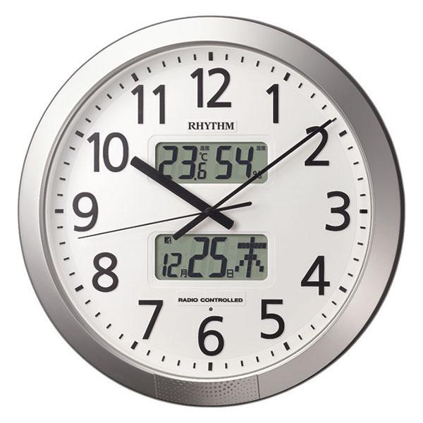 設定した時間にチャイムを鳴らす壁掛け時計 リズム 電波時計 4FN404SR19 文字入れ対応、有料 取り寄せ品 【店頭受取対応商品】